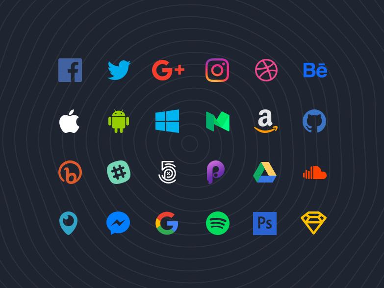 70 płaskich społecznościowych ikonek oraz szkiców