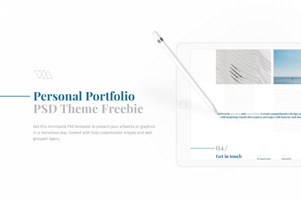PSD szablon do minimalistycznego portfolio
