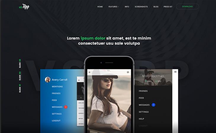 VSAPP: mobilnych i webowych PSD szablonów