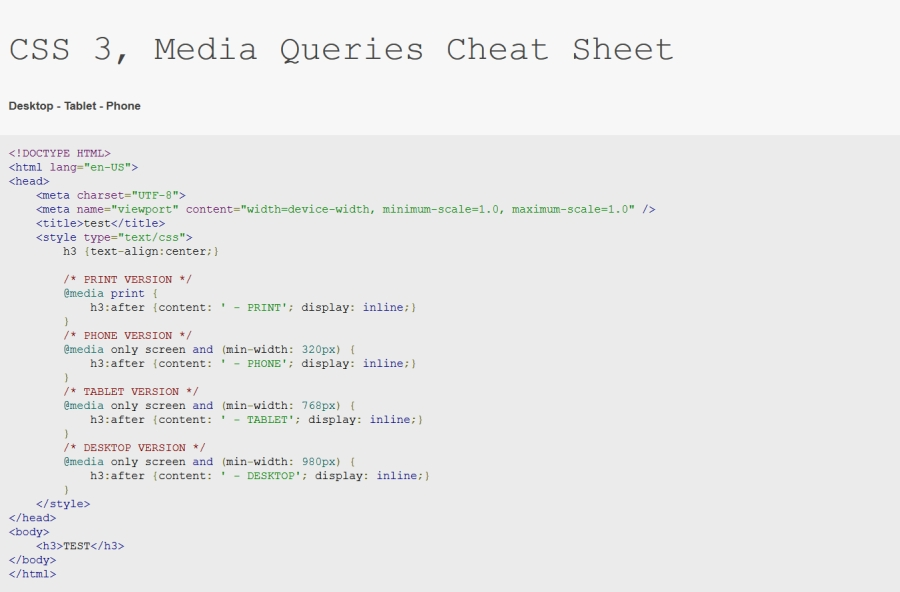 Ściągi dla programistów - css media queries