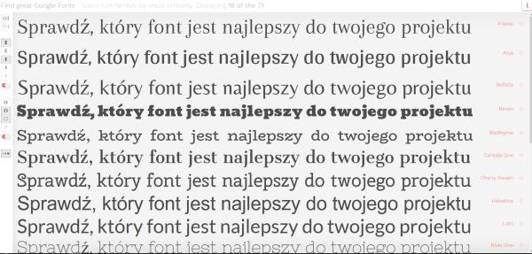 Strona do porównywania fontów dla typografów